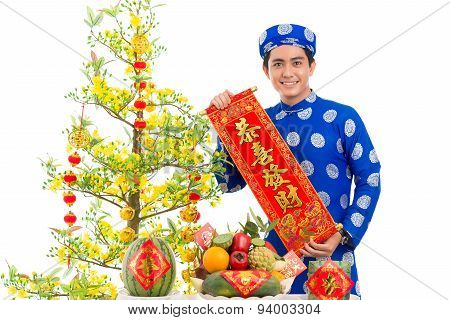Man With Vietnamese New Year Decorations