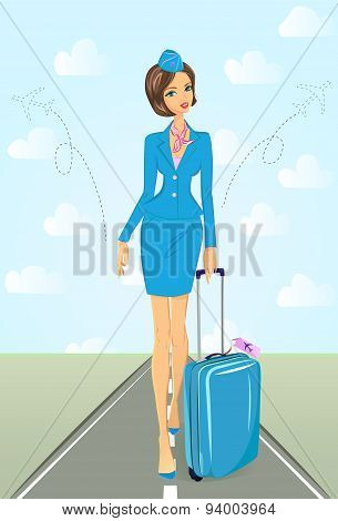 Smiling flight attendant in blue uniform with suitcase