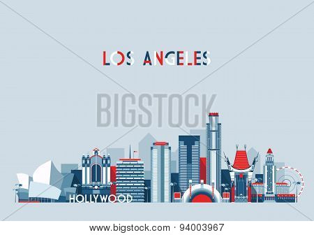 Los Angeles United States City Skyline Flat