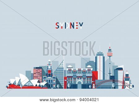 Sydney Australia City Skyline Vector Background