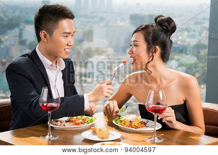 Couple In Luxurious Restaurant