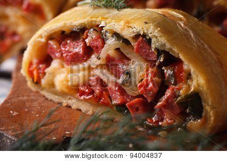 Tasty Pie With Ham, Cheese And Pepper Macro Horizontal