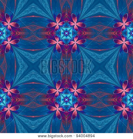Symmetrical Flower Pattern In Stained-glass Window Style On Blue. Blue, Pink And Purple Palette.