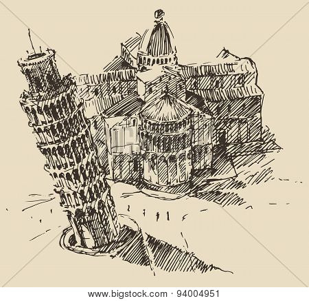 Leaning Tower Pisa Cathedral Italy Vintage Sketch