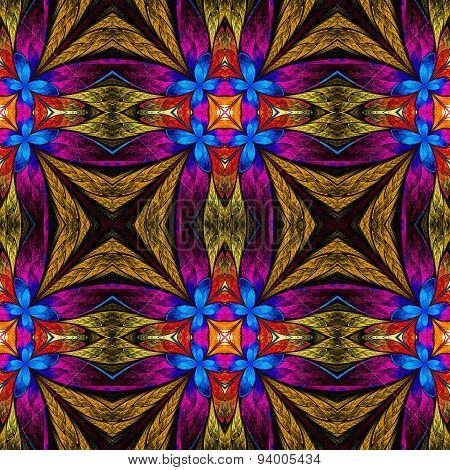 Symmetrical Flower Pattern In Stained-glass Window Style On Black. Blue, Pink And  Beige Palette.