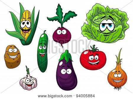 Fresh tasty cartoon vegetables characters