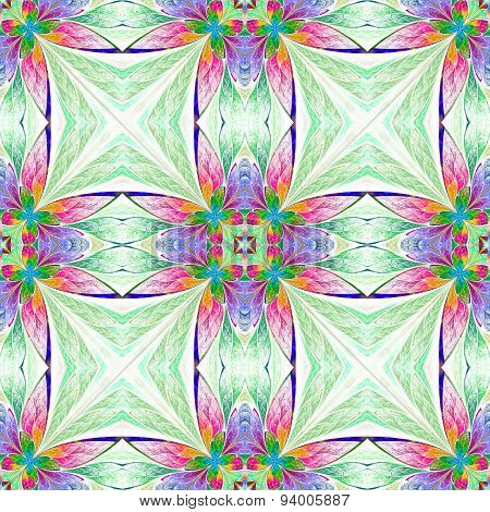 Symmetrical Multicolored Flower Pattern In Stained-glass Window Style On Light.