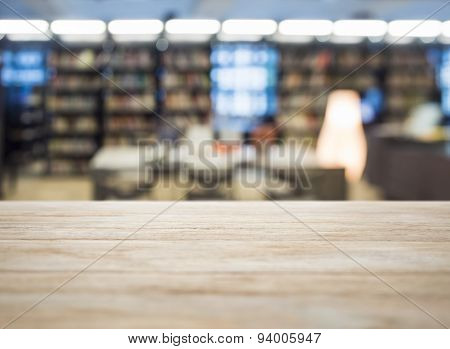 Table Top With Blurred Book Store library Background