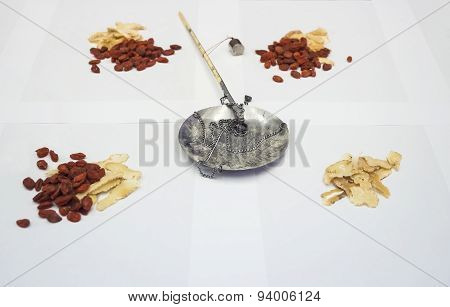 Herbal Chinese Medicine With Traditional Weight Scale