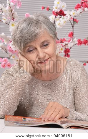 older woman resting at home