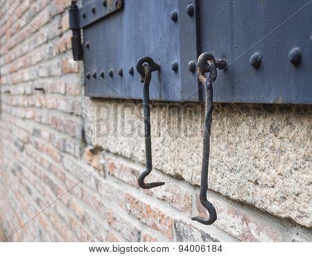 Metal Door Gate with Hook Details Close Up