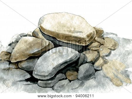 watercolor sea stones