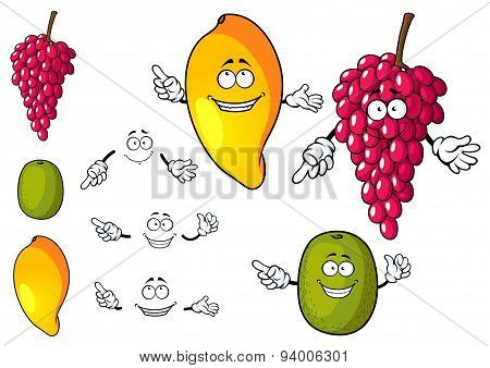 Cartoon mango, grape and kiwi fruits