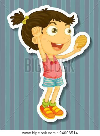 Girl holding potato chip in hand jumping