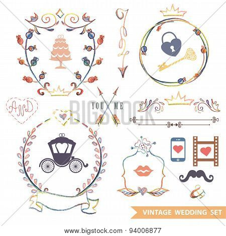 Cute retro floral set with doodle decor,wedding icons