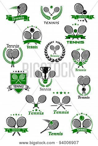 Tennis emblems with balls, rackets and trophy