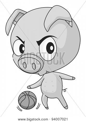 Pig with big head playing basketball