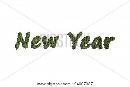 New Year Text Tree With White Background