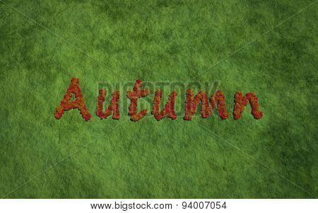 Autumn Tree Text With Grass Background