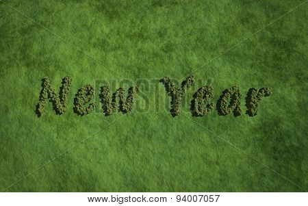 New Year Text Tree With Grass Background
