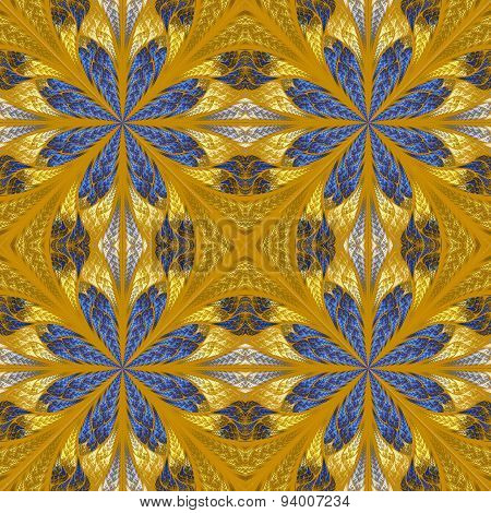 Symmetrical Pattern In Stained-glass Window Style. Blue And Beige Palette
