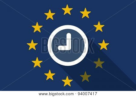 European Union Long Shadow Flag With A Clock