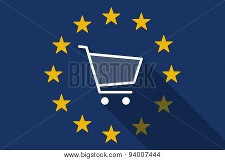 European Union Long Shadow Flag With A Shopping Cart