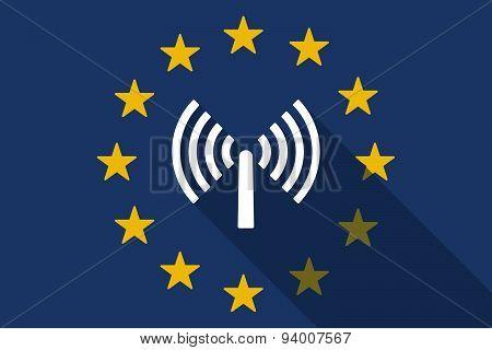 European Union Long Shadow Flag With An Antenna