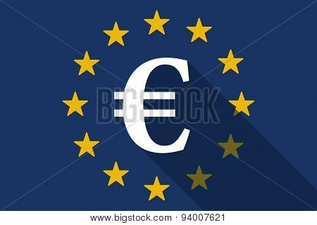 European Union Long Shadow Flag With An Euro Sign
