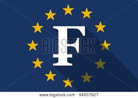 European Union Long Shadow Flag With A Swiss Frank Sign