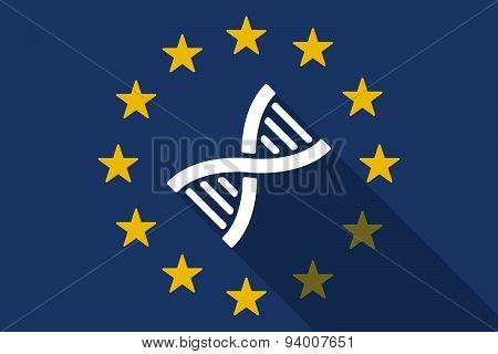 European Union  Long Shadow Flag With A Dna Sign