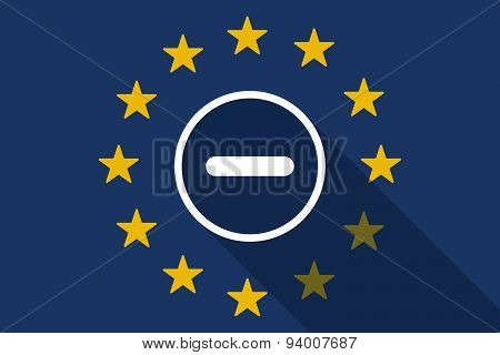 European Union Long Shadow Flag With A Subtraction Sign