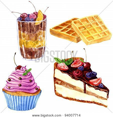 watercolor desserts with berries