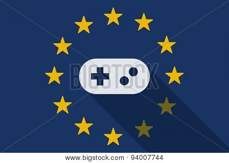 European Union  Long Shadow Flag With A Game Pad