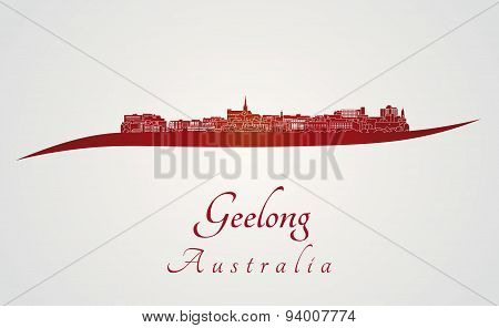 Geelong Skyline In Red