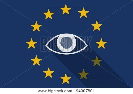 European Union Long Shadow Flag With An Eye