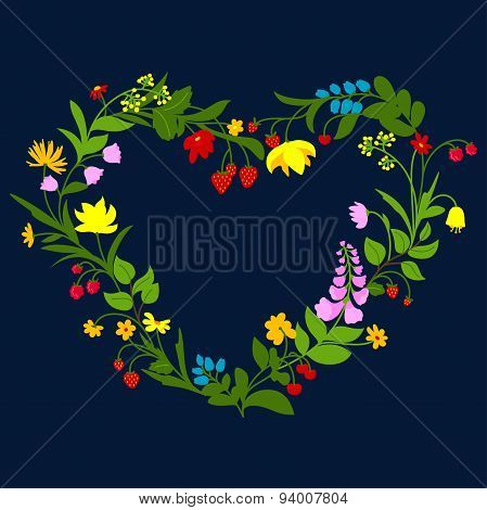 Floral heart frame with flowers and berries