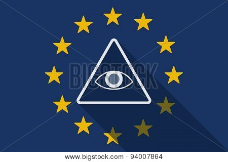 European Union  Long Shadow Flag With An All Seeing Eye