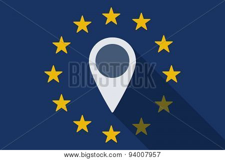 European Union Long Shadow Flag With A Map Mark