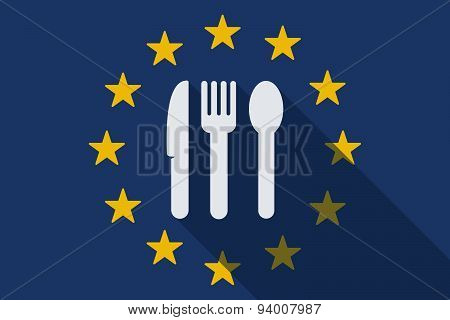 European Union Long Shadow Flag With Cutlery
