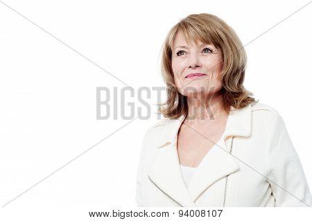 Beautiful Aged Woman Looking Upwards