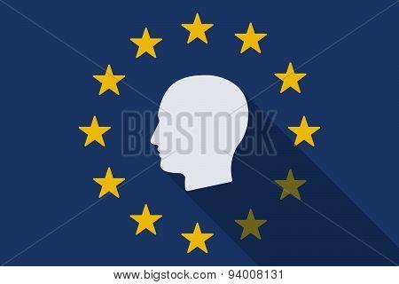 European Union Long Shadow Flag With A Male Head