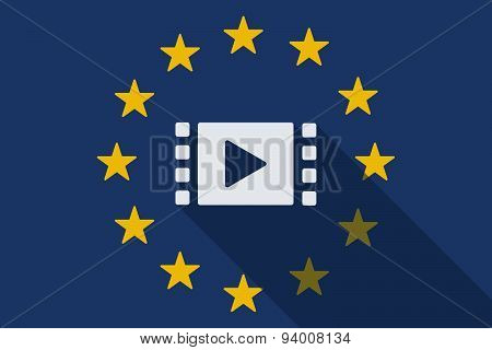 European Union  Long Shadow Flag With A Multimedia Sign