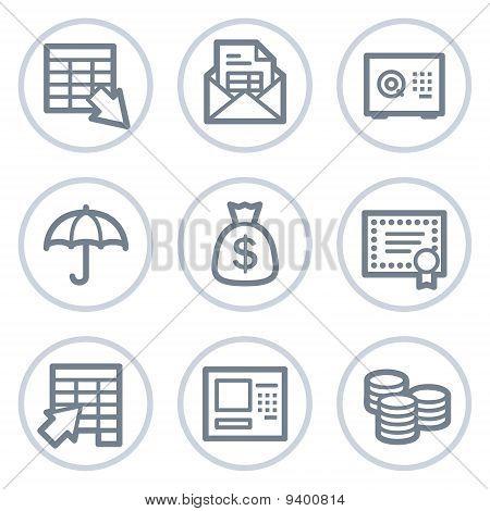 Banking Web Icons, White Circle Series