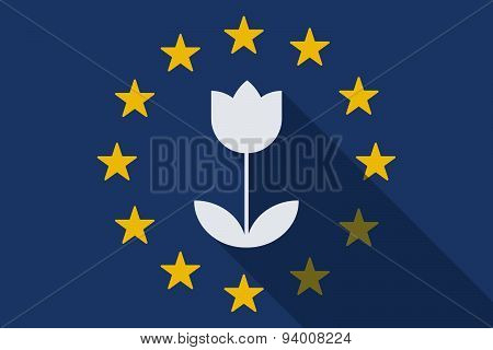 European Union  Long Shadow Flag With A Tulip