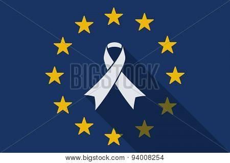 European Union  Long Shadow Flag With A Ribbon
