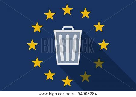 European Union Long Shadow Flag With A Trash Can