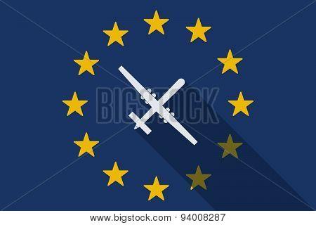 European Union Long Shadow Flag With A War Drone