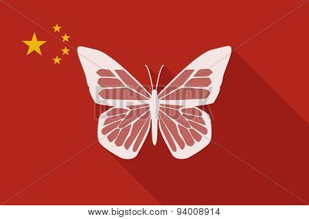 China Long Shadow Flag With A Butterfly