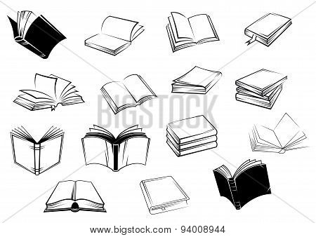 Black and white open books icons